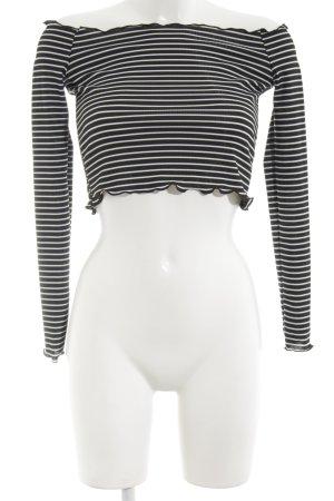 PrettyLittleThing Cropped Shirt schwarz-weiß Streifenmuster Casual-Look