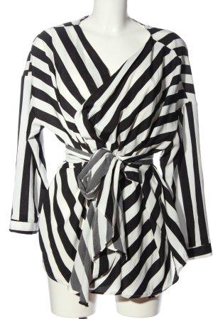 PrettyLittleThing Hemd-Bluse schwarz-weiß Streifenmuster Casual-Look