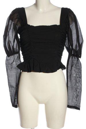 PrettyLittleThing Langarm-Bluse schwarz Elegant