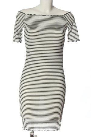 PrettyLittleThing Minikleid wollweiß-schwarz Streifenmuster Casual-Look