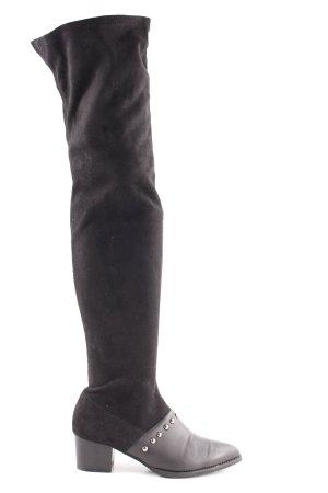 PrettyLittleThing Overknees schwarz-silberfarben Casual-Look