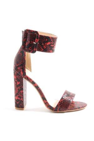 PrettyLittleThing Peep Toe Pumps red-black animal pattern extravagant style