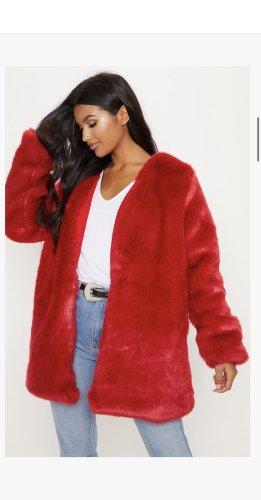 Prettylittlething, Red Midi Faux Fur Coat