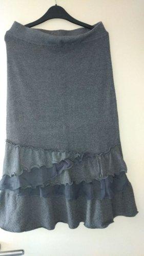 Preziosa Falda de punto gris-gris oscuro Cachemir