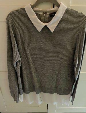 Primark Jersey de cuello redondo gris claro-blanco