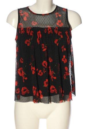Primark ärmellose Bluse schwarz-rot Blumenmuster Casual-Look
