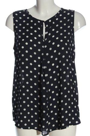 Primark ärmellose Bluse schwarz-weiß Punktemuster Business-Look