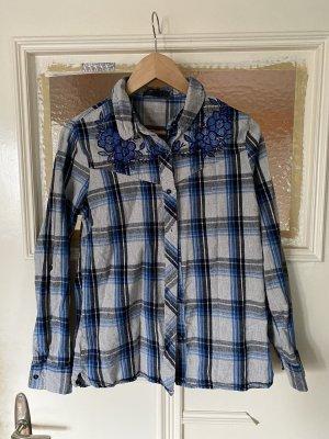 Primark Blau Grau Karierte Hemd Bluse mit Blumen Stickerei
