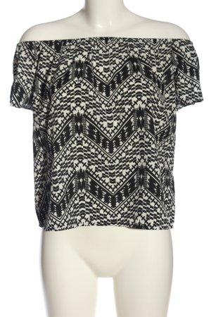 Primark Carmen-Bluse schwarz-weiß Allover-Druck Casual-Look