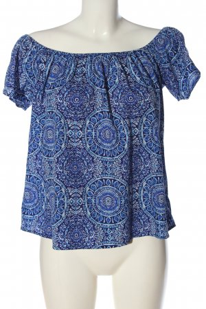 Primark Carmen-Bluse blau-weiß Allover-Druck Casual-Look