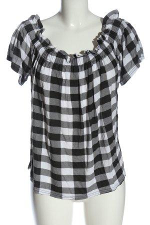 Primark Top épaules dénudées blanc-noir motif à carreaux style décontracté