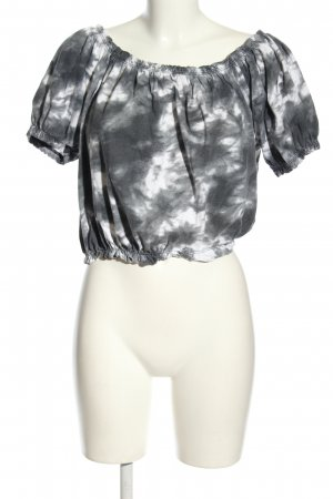 Primark Cropped Shirt hellgrau-weiß Casual-Look