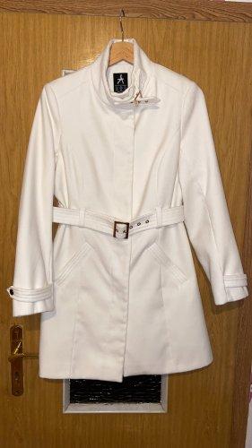 Primark Damen Trenchcoat Mantel Creme wollweiß weiß Gold Gr.S tailliert