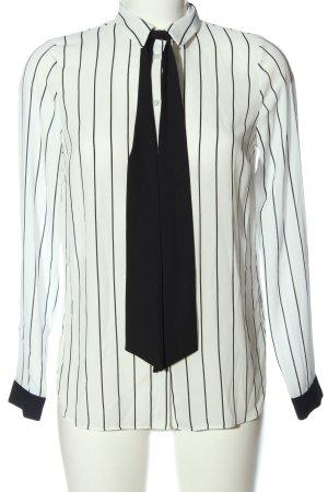 Primark Hemd-Bluse wollweiß-schwarz Streifenmuster Casual-Look