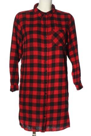 Primark Abito blusa camicia nero-rosso motivo a quadri stile casual