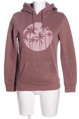 Primark Kapuzensweatshirt braun-pink Motivdruck Casual-Look