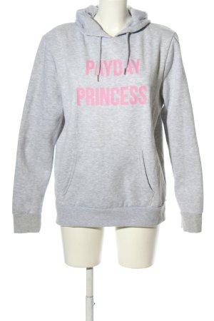 Primark Kapuzensweatshirt hellgrau-pink meliert Casual-Look