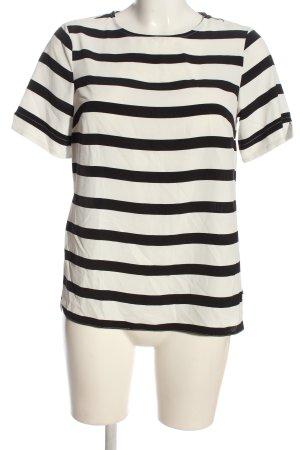 Primark Kurzarm-Bluse wollweiß-schwarz Streifenmuster Casual-Look