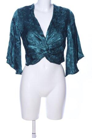 Primark Kurzarm-Bluse blau Allover-Druck Elegant