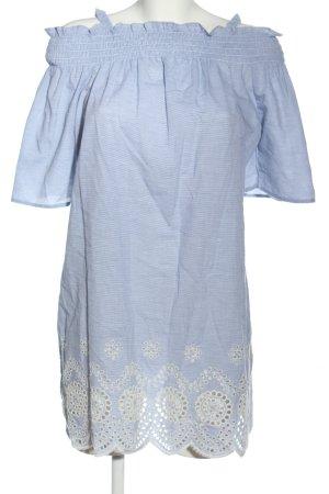 Primark Kurzarmkleid blau-weiß meliert Casual-Look