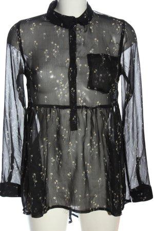 Primark Langarm-Bluse schwarz Allover-Druck klassischer Stil