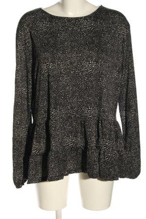 Primark Langarm-Bluse schwarz-wollweiß abstraktes Muster Casual-Look