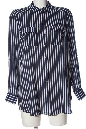 Primark Langarm-Bluse schwarz-weiß Streifenmuster Business-Look