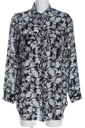 Primark Langarmhemd schwarz-weiß Allover-Druck Casual-Look