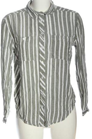Primark Langarmhemd weiß-khaki Streifenmuster Casual-Look