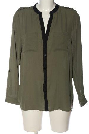 Primark Langarmhemd khaki-schwarz Casual-Look