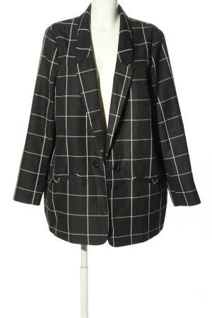 Primark Lange blazer zwart-wolwit geruite print zakelijke stijl
