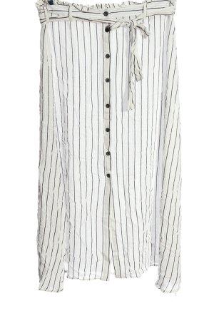 Primark Midirock weiß-schwarz Streifenmuster Casual-Look