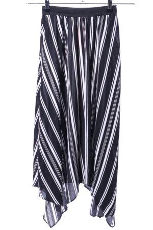 Primark Spódnica midi czarny-biały Wzór w paski W stylu casual