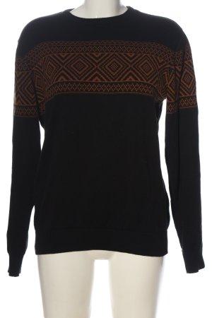 Primark Jersey estilo Noruego negro-marrón estampado gráfico look casual