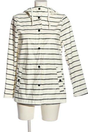 Primark Manteau de pluie blanc-noir motif rayé style décontracté