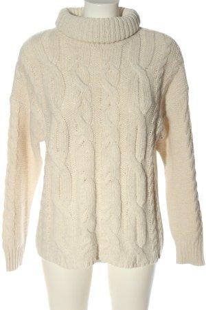 Primark Sweter z golfem w kolorze białej wełny Warkoczowy wzór W stylu casual