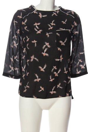 Primark Schlupf-Bluse schwarz-pink Allover-Druck Casual-Look