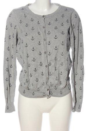 Primark Strick Cardigan hellgrau-schwarz abstraktes Muster Casual-Look