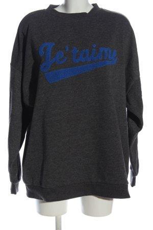 Primark Sweatshirt schwarz-blau Schriftzug gedruckt Casual-Look