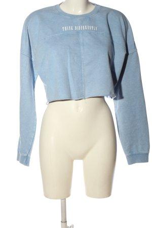 Primark Sweatshirt blau-weiß Schriftzug gedruckt Casual-Look
