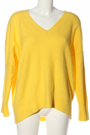 Primark V-Ausschnitt-Pullover blassgelb Casual-Look