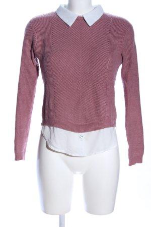 Primark Jersey con cuello de pico lila-blanco look casual