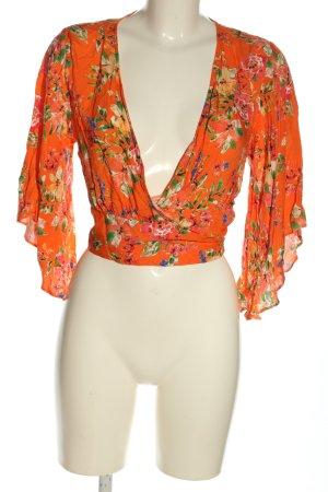 Primark Kopertowa bluzka jasny pomarańczowy-zielony Wzór w kwiaty