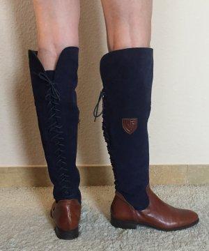 Wide Calf Boots dark blue-brown