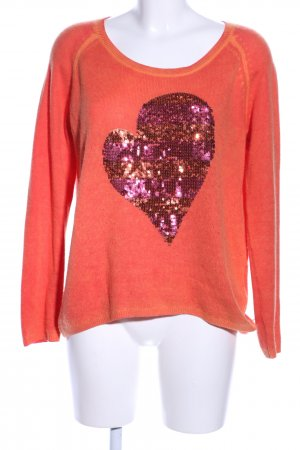 Princess goes Hollywood Cashmerepullover hellorange-pink Motivdruck Casual-Look