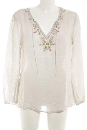 Princess Langarm-Bluse mehrfarbig Perlenverzierung