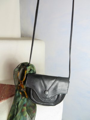 Princess Mini Saddlebag Leder Tasche - viele Fächer Umhängetasche Crossbody - Schwarz Echtleder -- Vintage
