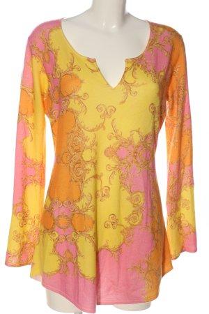 Princess V-Ausschnitt-Pullover blassgelb-pink grafisches Muster Casual-Look