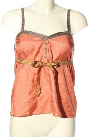 Princesse tam.tam Top in seta arancione chiaro-marrone motivo a pallini