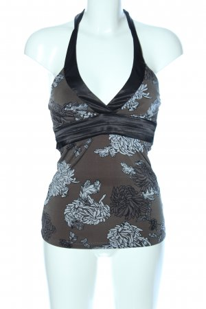 Halter Top khaki-black flower pattern casual look